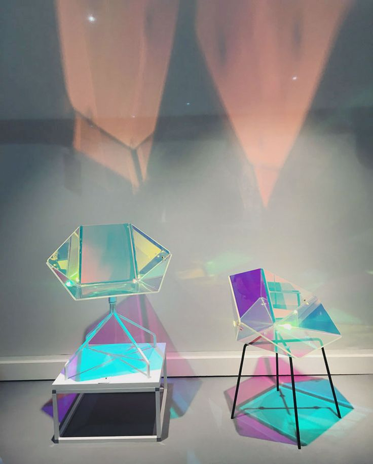 Salone del Mobile 2016 | A dichroic film applied to the seat of Eli5e Design's Prismania Chair creates a colourful iridescent glow