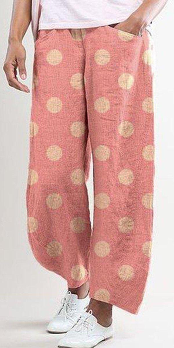 【60% off】Casual Polka Dot Print Pocket Pants