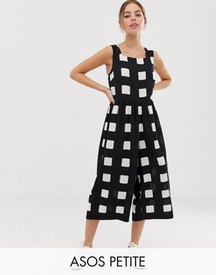 70c9ba820384 ASOS DESIGN Petite minimal jumpsuit with ruched waist in mono check print    ASOS