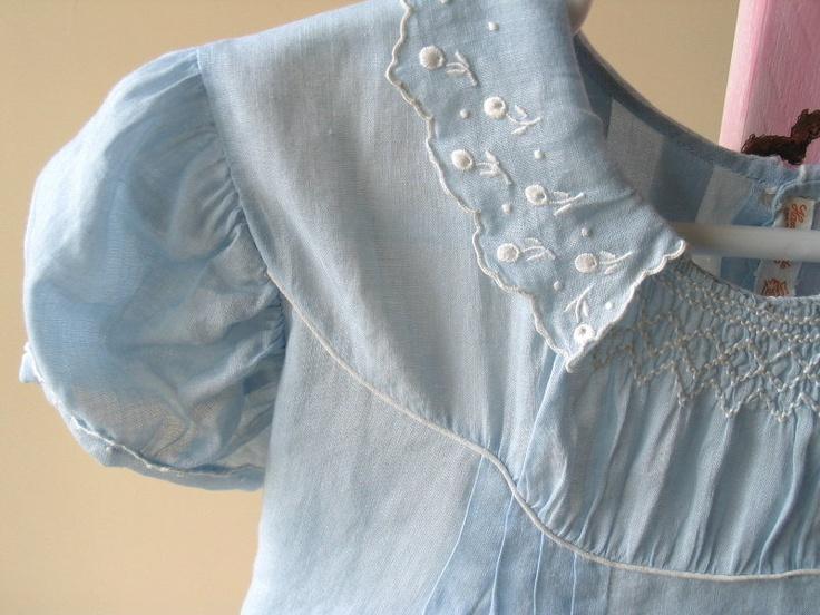 Vintage Toddler Blue Cotton Batiste Couture Handmade Smocked Dress