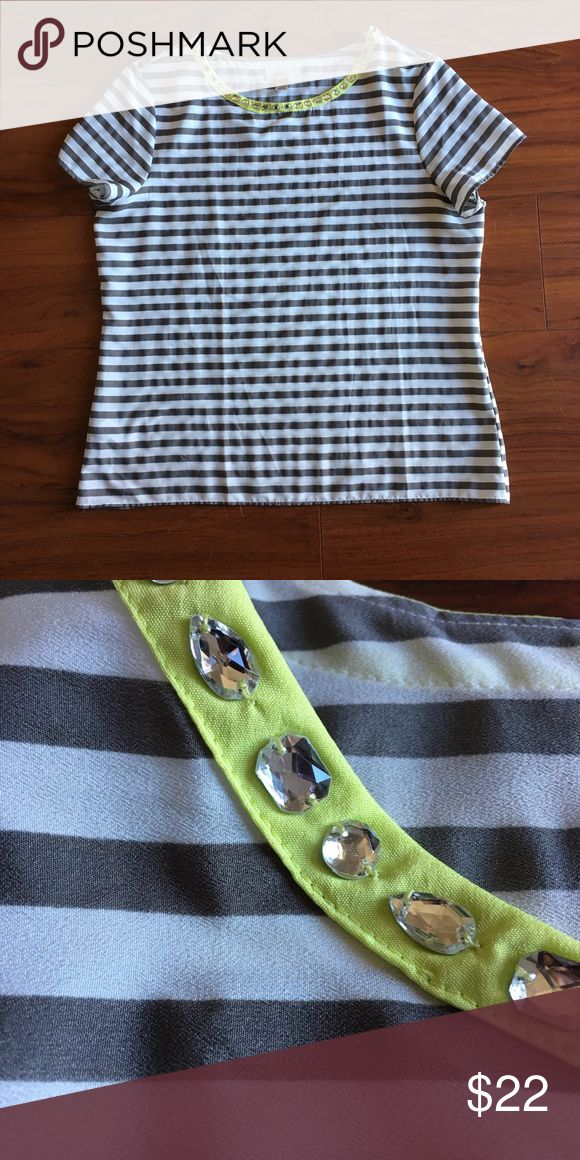 LOFT short sleeve blouse EUC blouse purchased from LOFT Factory Store. Gray and white stripe with chartreuse trim and stone (all stones are in place) detailing along the neckline. LOFT Tops