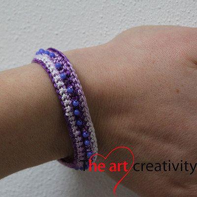 Bracciale a uncinetto viola sfumato e perle viola. #viola #bracciale #uncinetto #perle #lilla #lotrovisuMissHobby