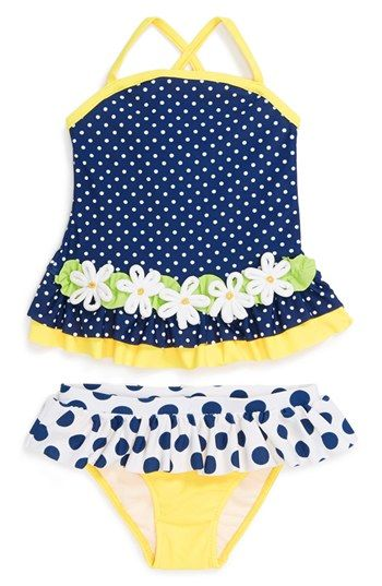 Free shipping and returns on Love U Lots Two-Piece Swimsuit (Baby Girls) at Nordstrom.com. Appliquéd daisies bedeck a perky polka dot swimsuit in classic navy and sunny yellow.