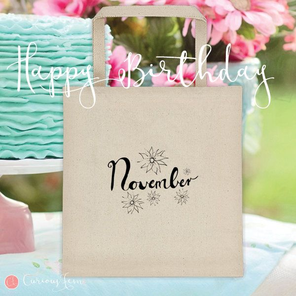 November Birthday Tote Bag – 100% Cotton – Printed Front and Back #fashion #november  #birthday #happybirthday #tote #totebag #printed #pencildrawing