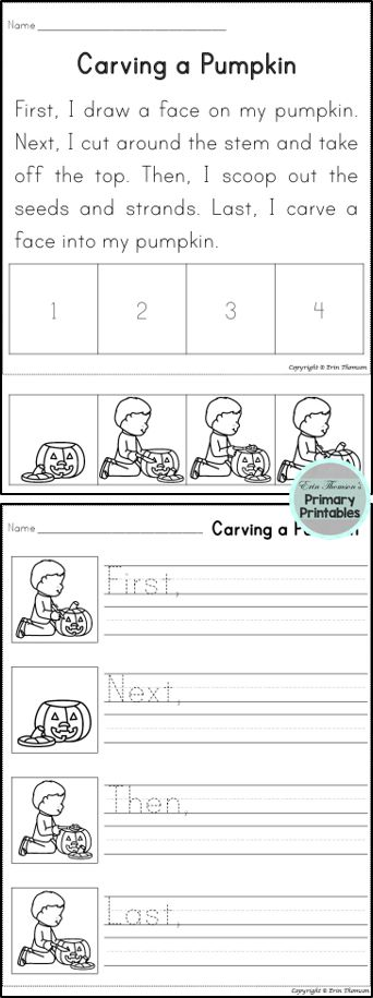 Students will sequence using the words first, next, then, and last. Includes story and writing prompt. This story is perfect for Halloween!