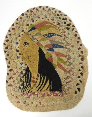 Antique Folk Art Native American Indian Chief Petit Point Hooked/Braided Rug  ~♥~