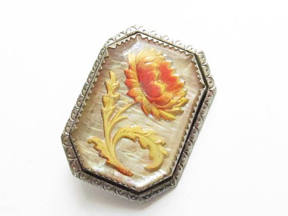 Intaglio Yellow Orange Flower Rock Crystal Brooch 1930s MOP
