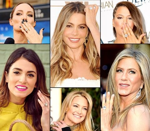 The bling ring, indeed! Hollywood's finest boast some of the most eye-popping engagement rings around. Click though to see them all organized by carat size, from Jessa Duggar's .75 solitaire to Elizabeth Taylor's legendary 33-carat bauble!