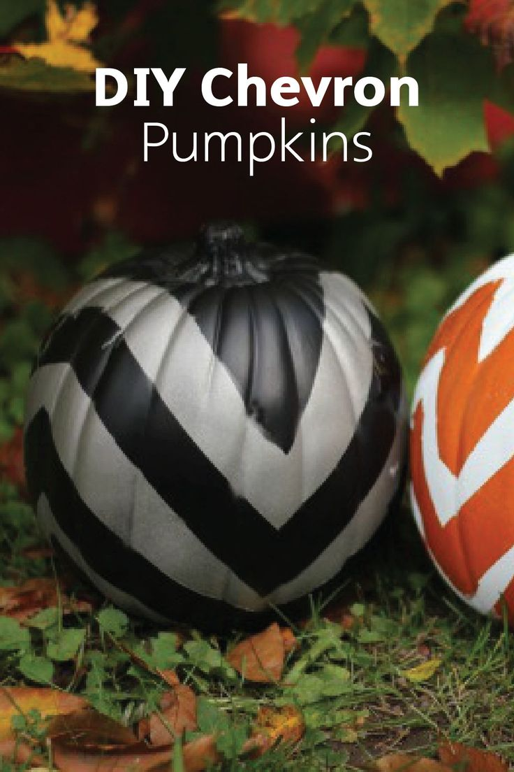 Make Painted Chevron Pumpkins for your fall or Halloween decor! All you need are decorative pumpkins, spray paint, painter's tape, and Bounty Paper Towels to create this fun and beautiful craft.