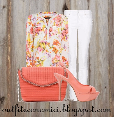 Blusa bianca stampa floreale