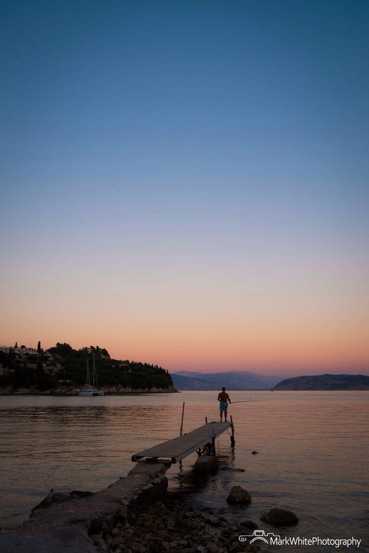Evening Fisherman - Kalami Bay, Corfu, Greece Shot by Mark White