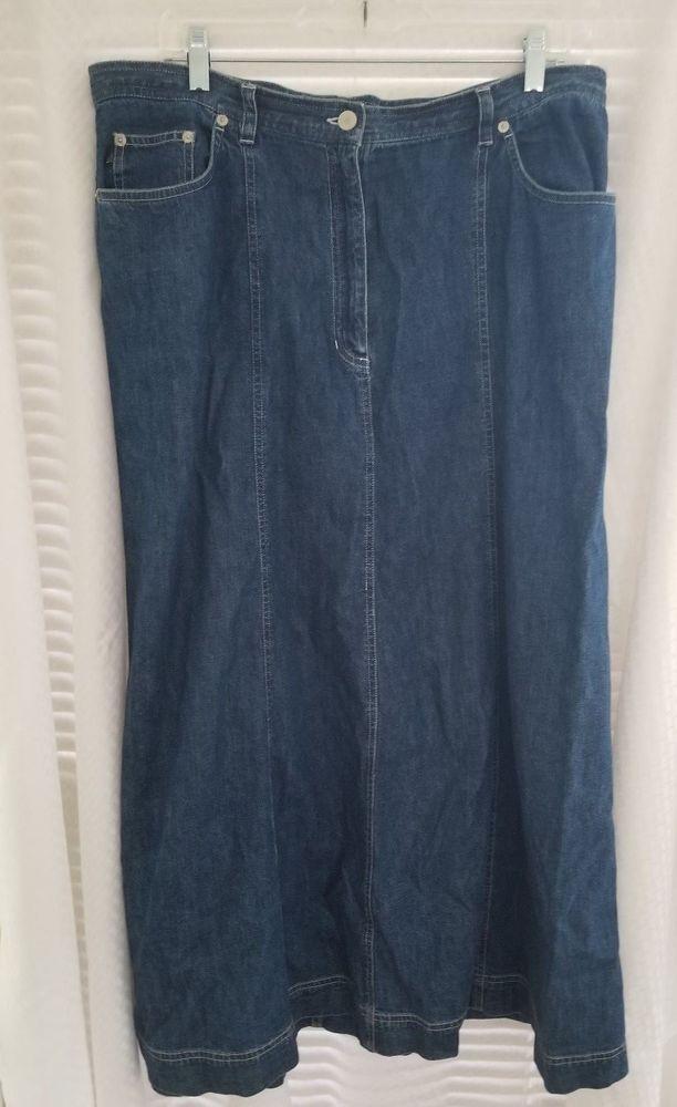 Lauren Jeans Co. Denim Skirt 100% Cotton Size 14W Modest Maxi Skirt #LaurenJeansCo #Maxi