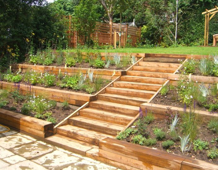 we made a feature of the gardens slope by designing three terraced levels of planting