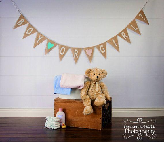 Gender Reveal Burlap bannière bébé douche par nhayesdesigns sur Etsy