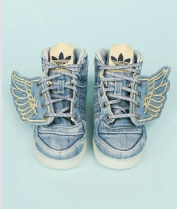 by jeremy scott x adidas originals kids shoes: Hmmmm - looks like a simple  enough to make mini wings to a regular pair of kids