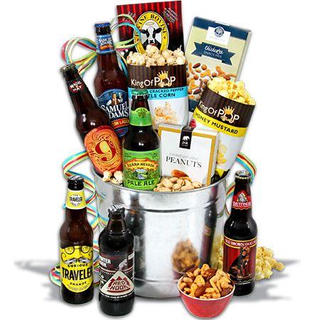 Microbrew Beer Bucket Gift Basket - 6 Beers gift idea