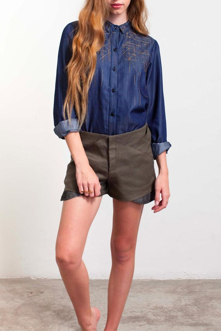 Military green fun origami mini shorts. perfect for a night out in Miami!   Triangle Shorts by Malaquita Design. Clothing - Shorts - Mini Florida
