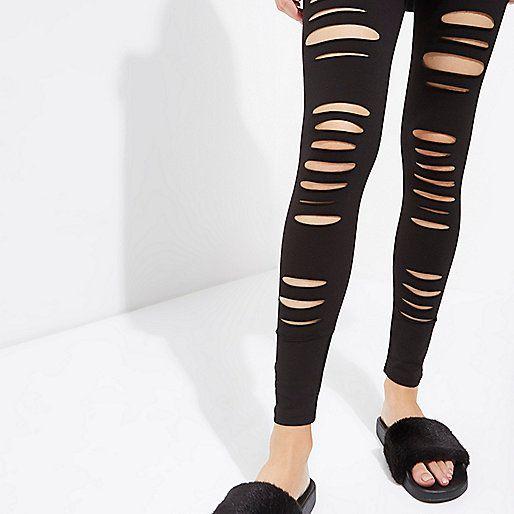 L2017 Black ripped high waisted leggings