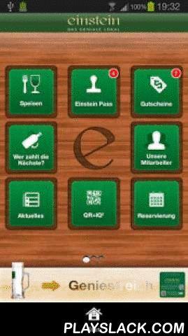 Cafe Einstein  Android App - playslack.com ,  Geniales für Ihr Smartphone! Erleben Sie Das Geniale Lokal morgens, mittags, abends immer auf Ihrem Smartphone! Genießen Sie herrlich-geniale Wochenangebote, Reservierungen, Gutscheine, Sammelpässe, News, jederzeit auf Ihrem Smartphone!Einstein App Funktionen:+ Aktuelles: News aus dem genialen Lokal!+ Speisen: Blättern Sie durch alle leckeren Speisen und Getränke+ Menüplan: Jederzeit unsere günstigen Tagesteller aufs Smartphone holen und bis zu…