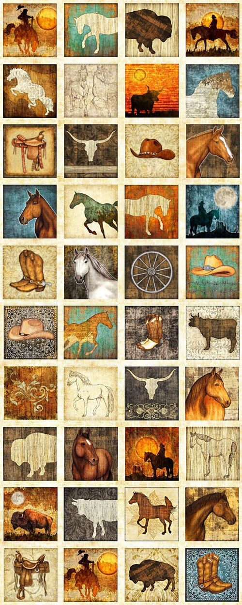 """Western Patch - Unbridled by Dan Morris for Quilting Treasures - 24"""" x 44"""" Panel Cowboys, Horses, Buffalo, Cowboy Hat"""