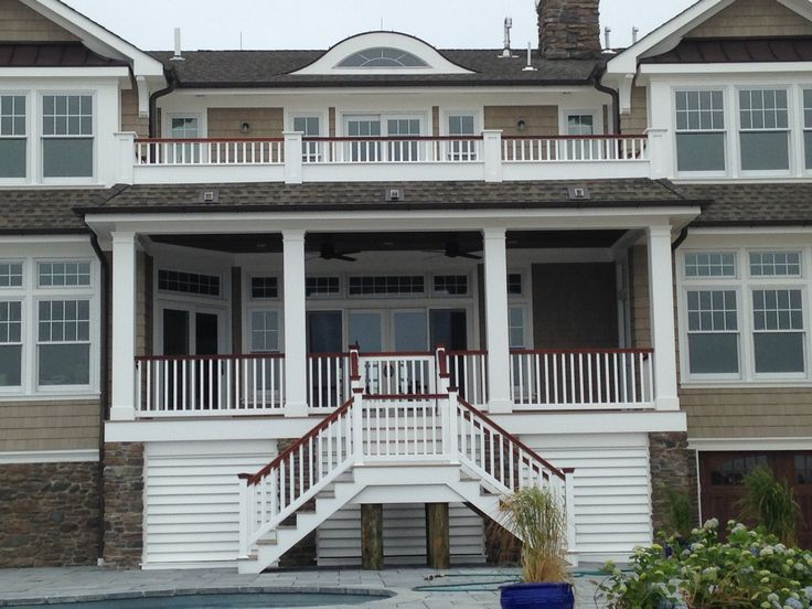 Best Vinyl Rails With Mahogany Top Rail American Choice Vinyl Railing House Styles Front Porch 400 x 300