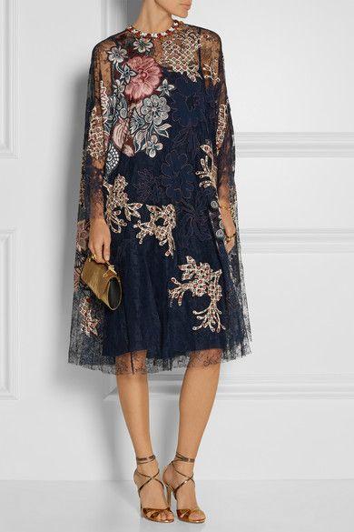 Biyan | Levia embellished appliquéd lace dress | NET-A-PORTER.COM