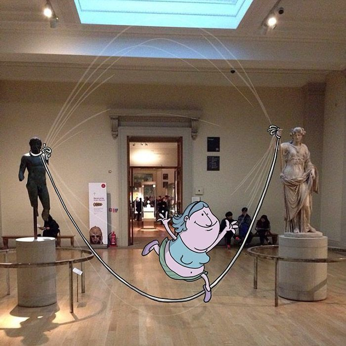 """Museum Sculptures  """"Photo Invasion"""" - The Awesome Illustrations Combined With Instagram Photos • Page 3 of 5 • BoredBug"""