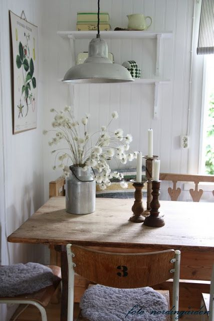 nordin farm ~ another pendant light over a simple table.  Thank goodness!  Sick of inappropriate Chandeliers!