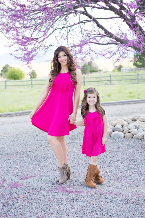 Mommy and Me Fringed Tank Tunic Dress Fuchsia - Ryleigh Rue Clothing by Modern Vintage Clothing
