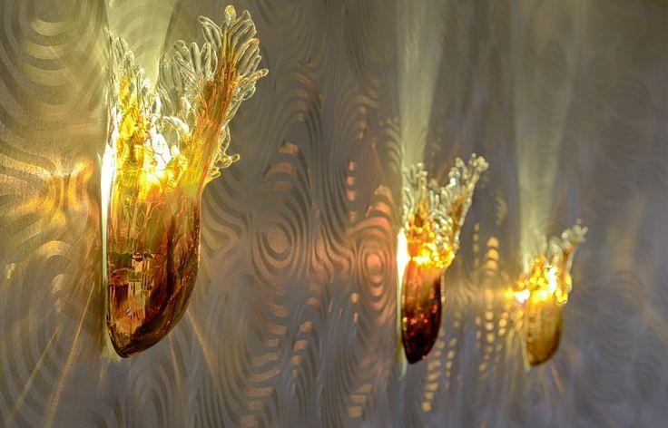 Wall lamp made of hand blown glass. Serial production. Hotel LOWE, Piešťany, Slovakia.