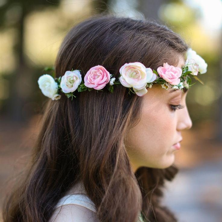 Blush Pink Ranunculus and Daisy Floral Crown | Afloral Wedding Flowers | Flower Girl Crowns