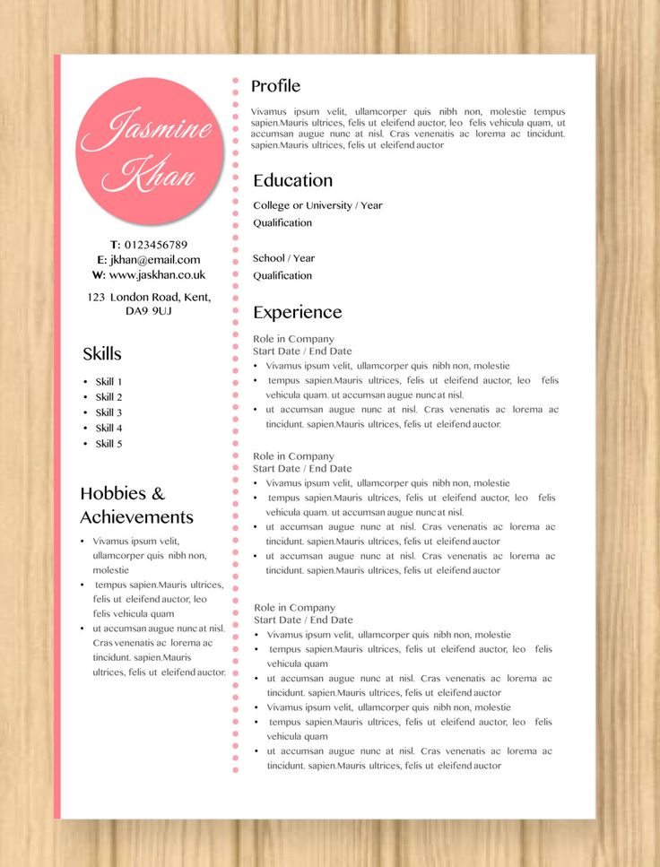 cv resume modern pink jasmine template instant word document download