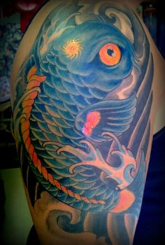 Blue Koi Fish Tattoo by The Red Parlour Tattoo Woodside Queens NY NY NYC