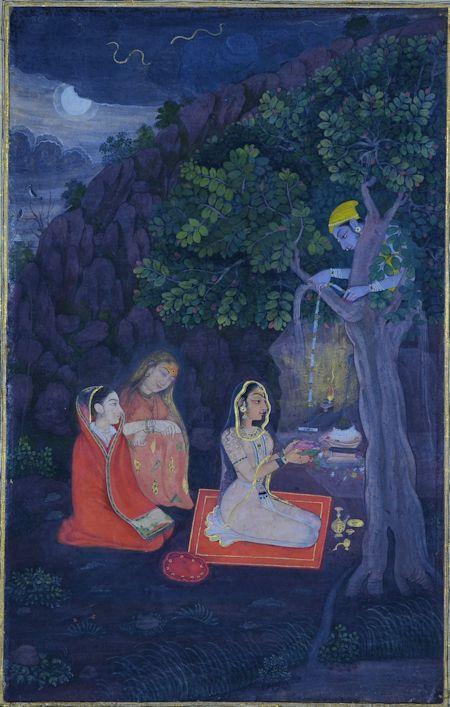 Krishna watches Radha perform Linga Puja, Kishangarh, Rajasthan, 1760