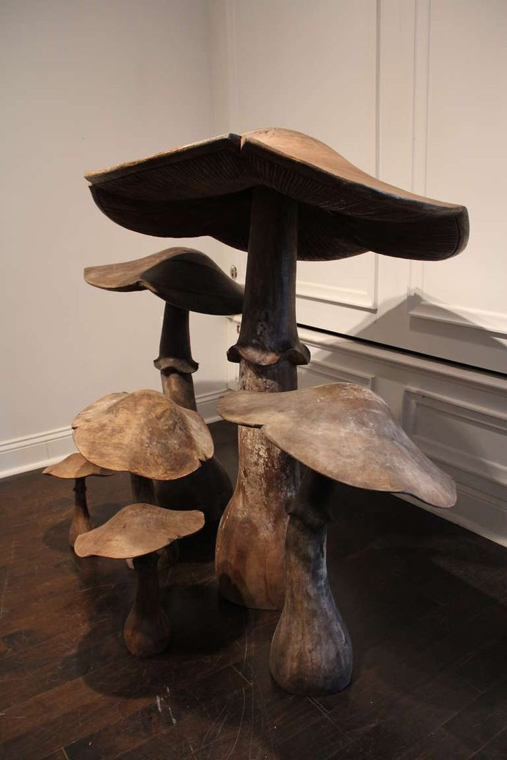 Set of Six Wooden Mushrooms