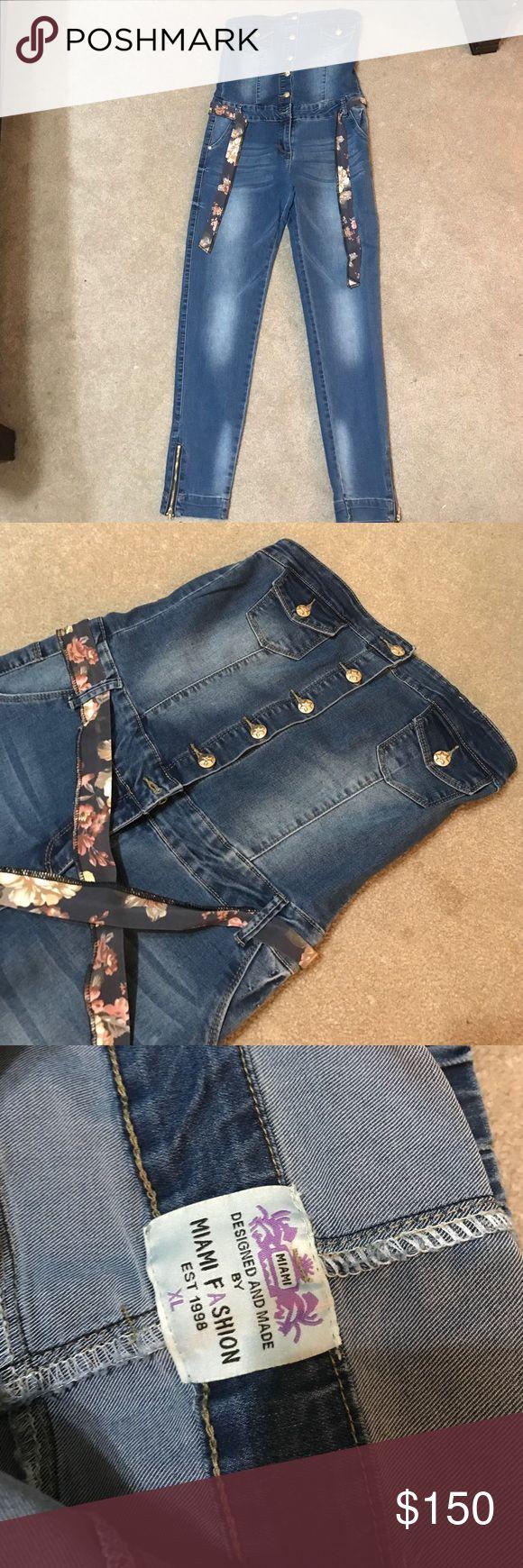 Jeans jumpsuit Miami fashions Never wore Miami fashion jeans jumpsuit size XL but it fit who wear L size miami fashions Pants Jumpsuits & Rompers