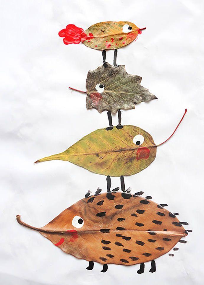 atividades com folhas secas - animais de folha