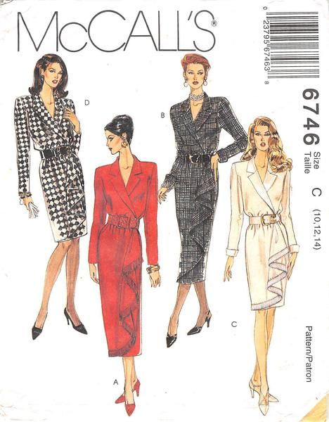 MCCALLS 6746 - FROM 1993 - UNCUT - MISSES SARONG WRAP DRESS IN TWO LENGTHS