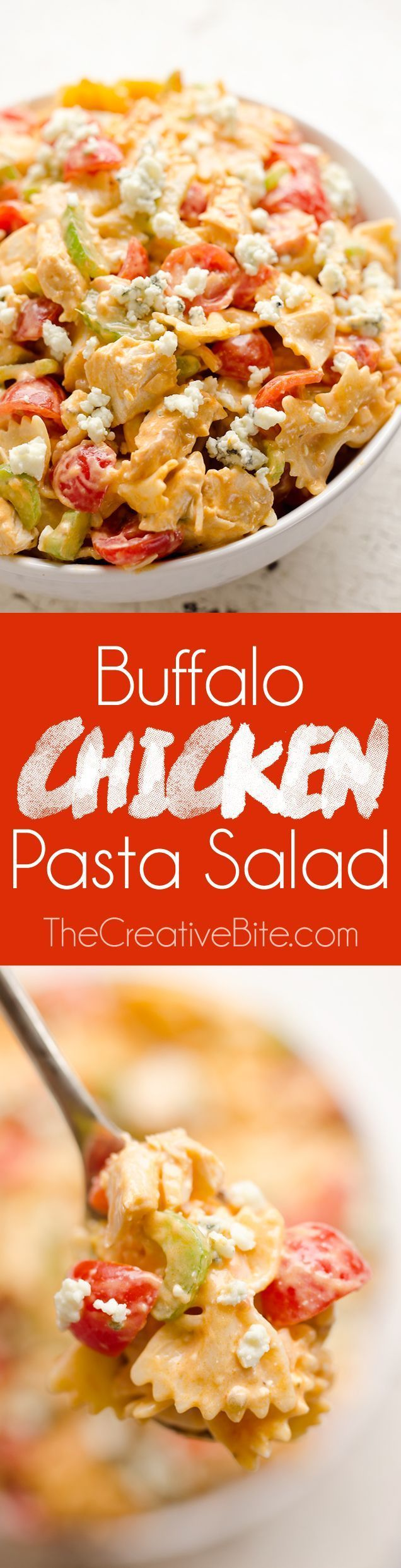 Buffalo Chicken Pasta Salad is a quick and easy recipe perfect for a game day…