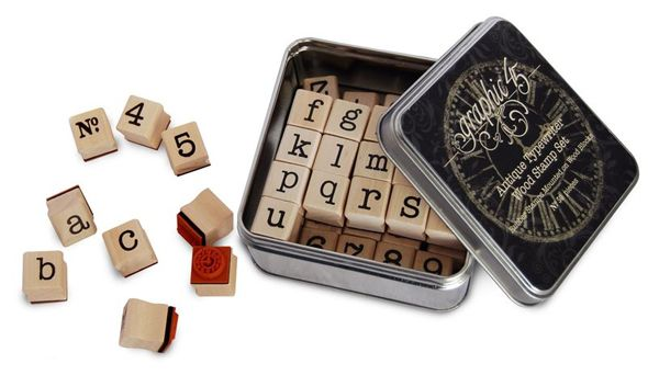 Graphic 45 - Staples Collection - Antique Typewriter Wood Stamp Set at Scrapbook.com $16.49