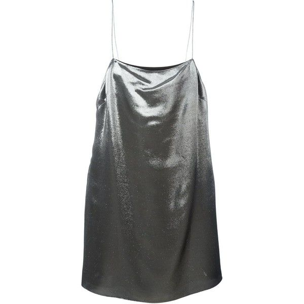 Saint Laurent metallic cami dress ($1,555) ❤ liked on Polyvore featuring dresses, metallic, cami shift dress, short metallic dress, short dresses, spaghetti strap cami and straight dress