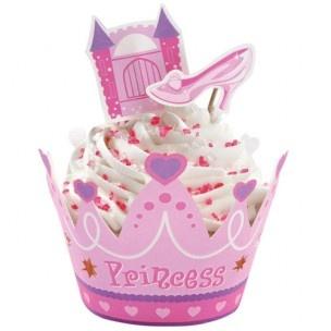 Tover gewone cupcakes om in prinsessen cupcakes met deze wraps en prikkers.