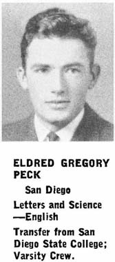 Gregory Peck's yearbook entry from UC Berkeley, c. 1939