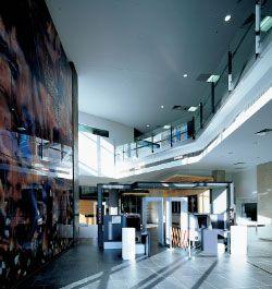 Entrance foyer, with heart/land/riverby Judy Watson seen on the left. Image…
