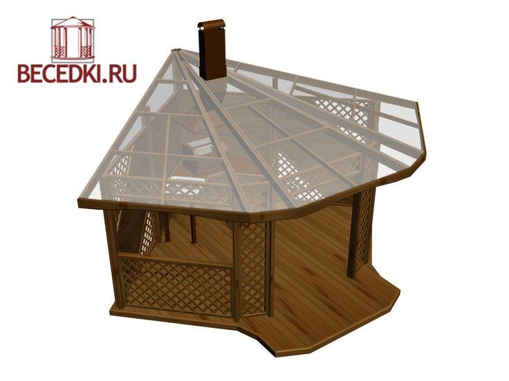 Угловая беседка с полом и крышей из оргстекла по цене 201250 рублей