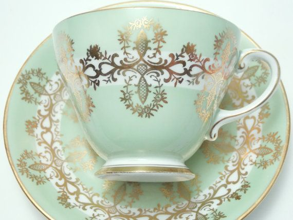 Royal Grafton Green Gold Vintage Fine Bone China Tea Cup and Saucer Made in England