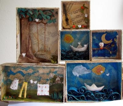 Shadowboxes. Would be fun (for the kids) to create them for the fairy tales in 1st grade.