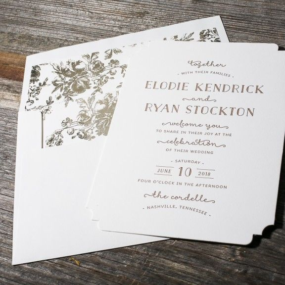 Elodie is a romantic letterpress wedding invitation with a vintage die-cut shape and a trifold photo save the date with letterpress + digital printing.