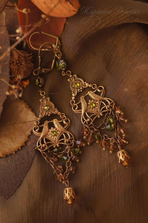 """Купить Серьги """"Райские птицы"""" оливково-золотистые - винтажные украшения…"""