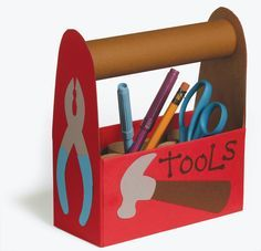 """Recycle cardboard tubes and a cereal box to make this """"toolbox"""". Use it to hold supplies like pencils and markers! #kids #crafts"""